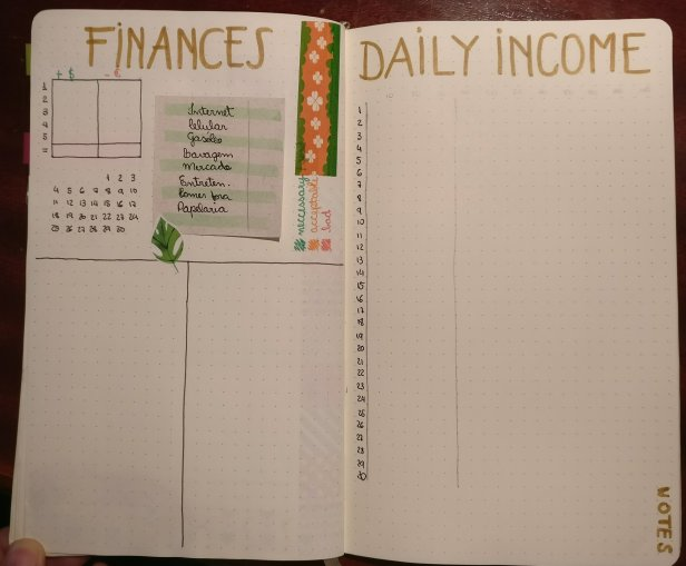 Bullet Journal: Finances Log and Daily Income