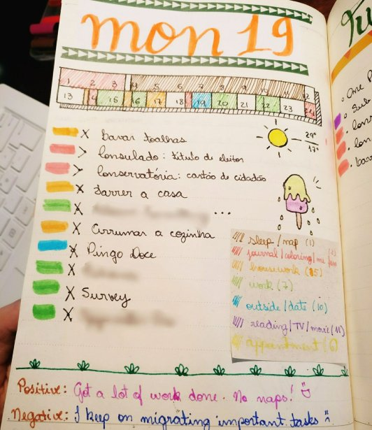 Bullet Journal: Completed Daily log